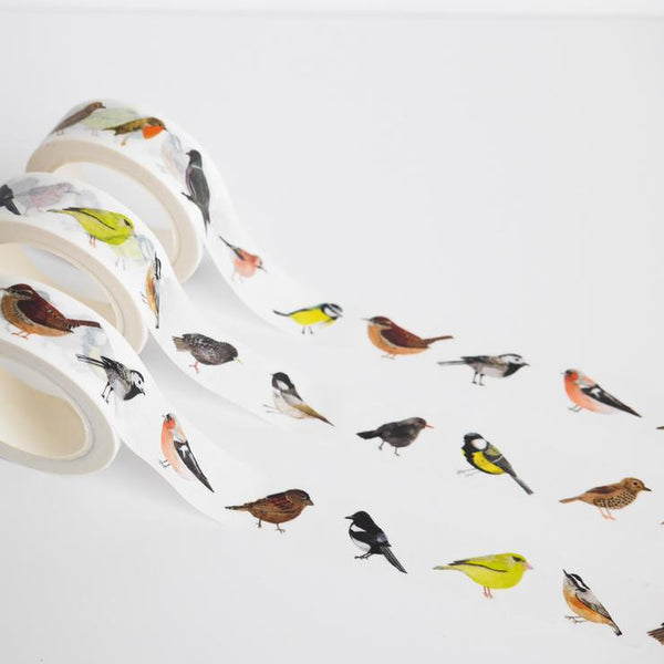 Washi tape featuring an array of illustrated British birds
