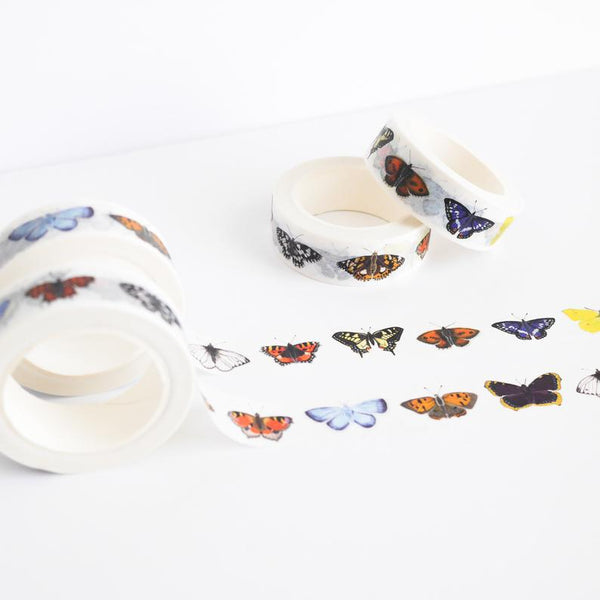 Washi tape featuring illustrations of British butterflys.