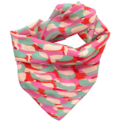 Brightly coloured silk scarf