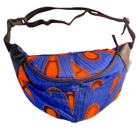 A vibrant blue with a vibrant orange pattern and faux leather by the straps for style and durability.
