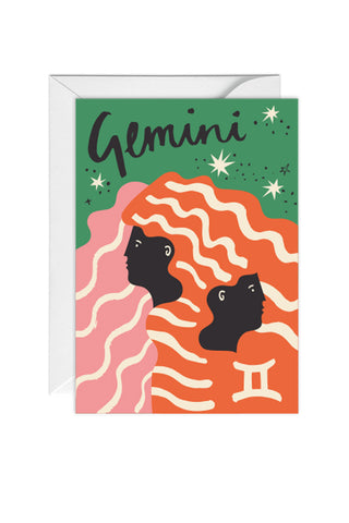 Greetings Card Zodiac Sign Gemini