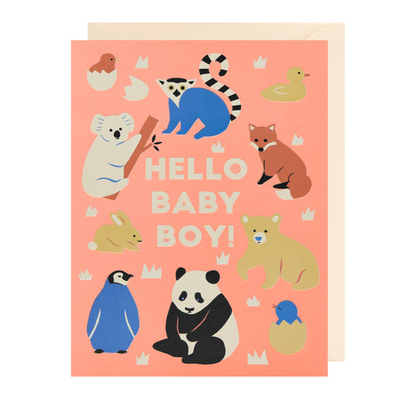 Hello Baby Boy card with cute animals set around the centre text.