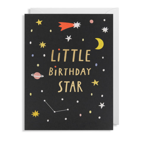Little birthday star greetings card with planets, stars, constellations on a black background.