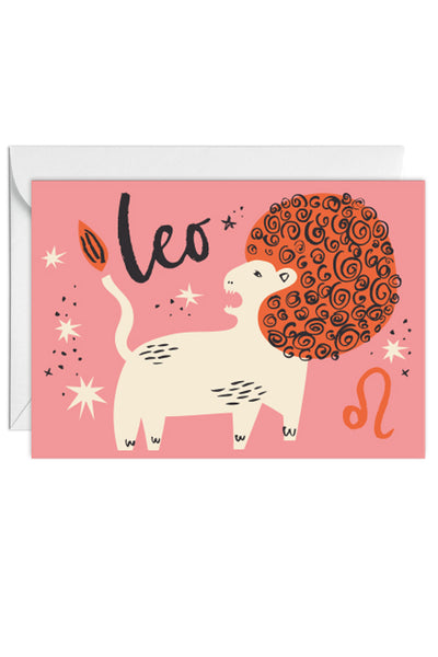 Greetings Card Zodiac Sign Leo