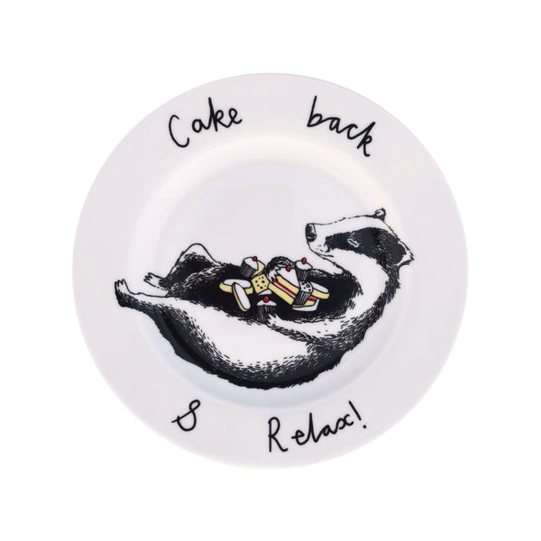 China plate with an illustration of a badger with lots of cake balanced on his tummy.