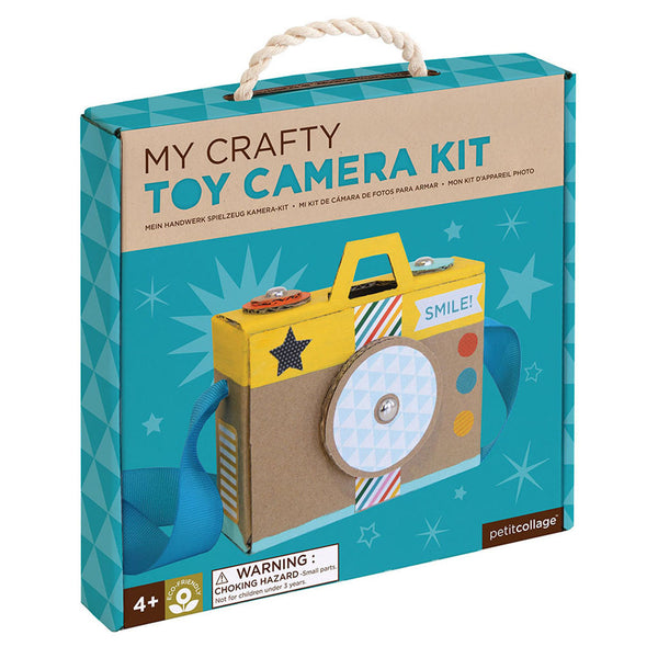 Toy cardboard camera kit that comes boxed and included everything you need to make it.