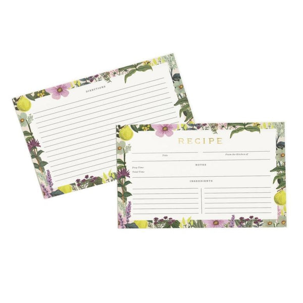 Recipe cards with floral boarders