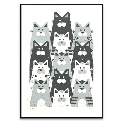 Cats 13 Lives Hand Screen Print A2