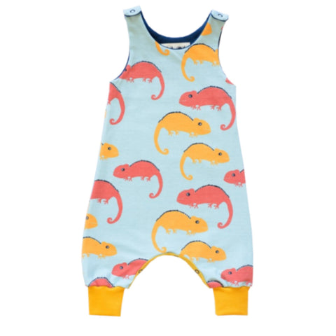 Organic cotton babygrow with red and yellow chameleon design on a blue background