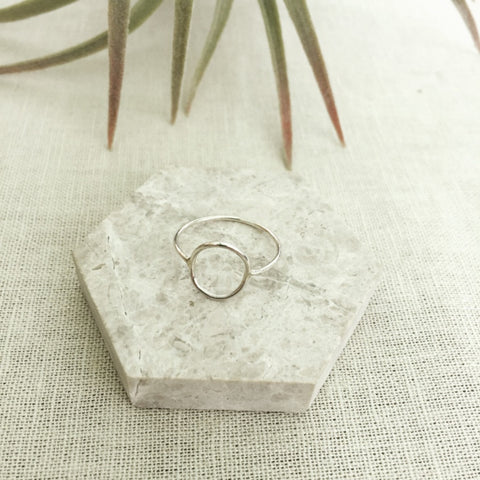 Ring made from eco silver that features a perfect circle that sits in the centre on your finger