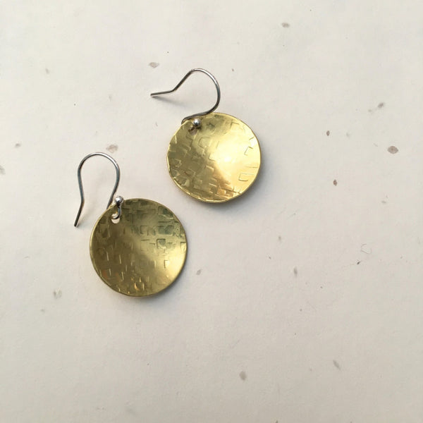 concaved textured brass disc earrings with sliver finding