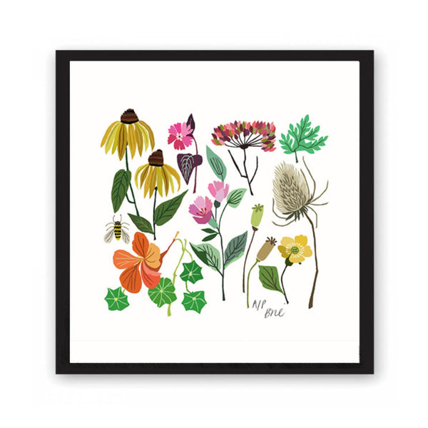 Giclée print featuring brightly coloured flowers and leaves.
