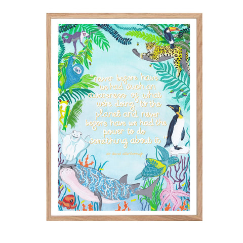 Print featuring a quote from Sir David Attenborough surrounded by different flora and fauna.
