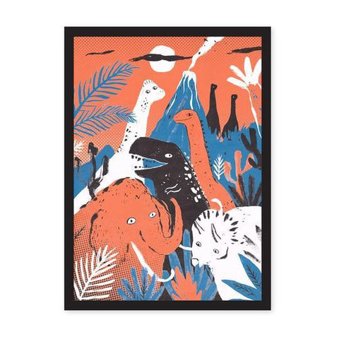 Riso print featuring a group of different dinosaurs set into a prehistoric scene.