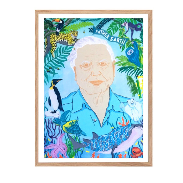 Print featuring Sir David Attenborough surrounded by different flora and fauna.