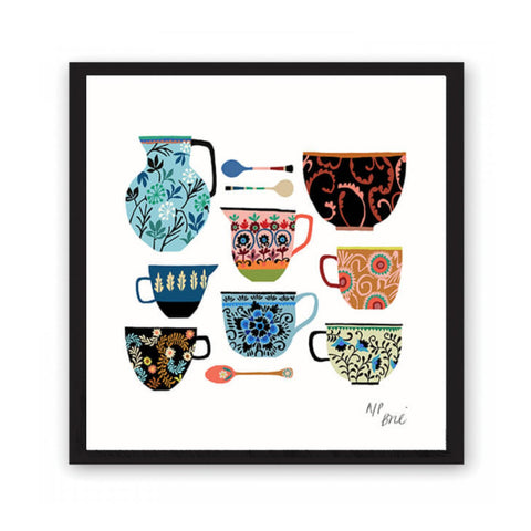 Giclée print featuring brightly coloured kitchen crockery.