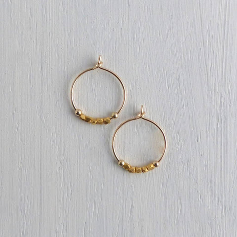 Gold Petite Fair Trade Bead Hoops