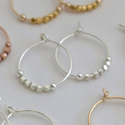 Silver Petite Fair Trade Bead Hoops