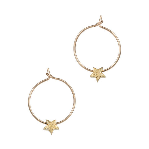 Gold Petite Star Hoop Earrings