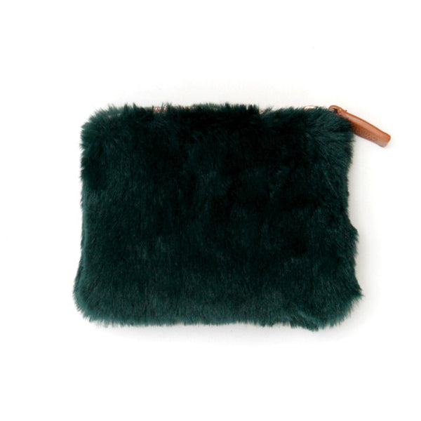 Green faux fur fluffy coin purse with leather style zip pull.