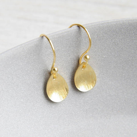 Bushed Leaf Gold Earrings