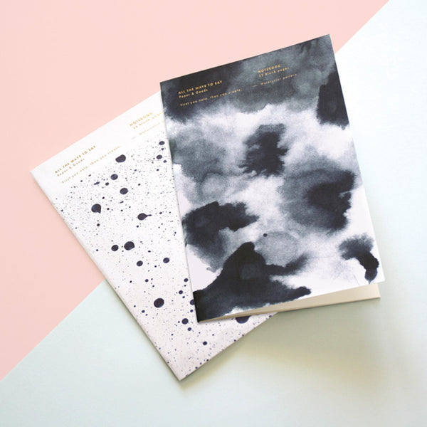 Pack of two A4 notebooks with inky cloud and Galaxy designs