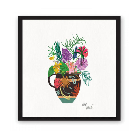 Giclée print featuring brightly coloured flowers and leaves in a highly patterned vase.