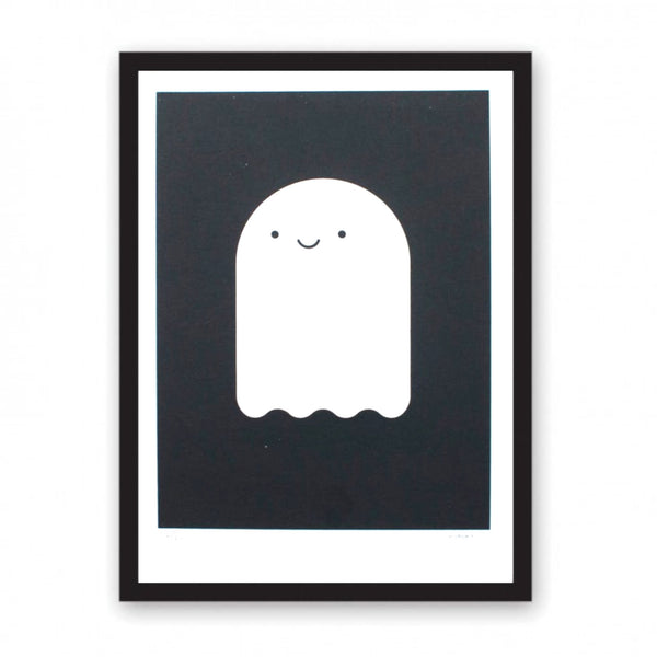 Screen print featuring a friendly looking ghost.