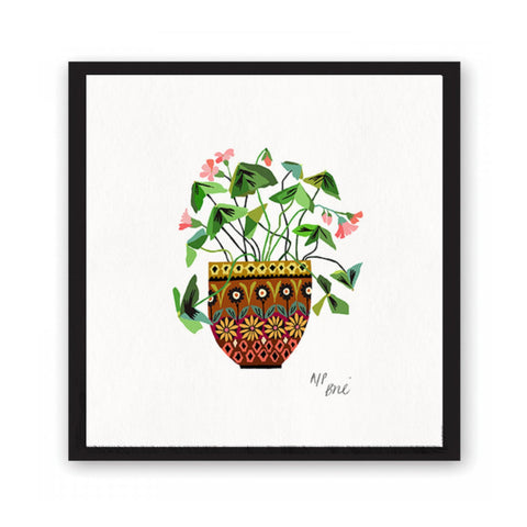 Print featuring a green oxalis plant in highly decorated pot.
