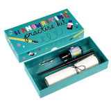 Practise handwriting kit containing a pen and nib, a bottle of ink, and how to sheets.