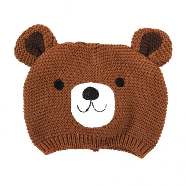 Knitted cotton baby's hat with and embroidered bear face and ears.