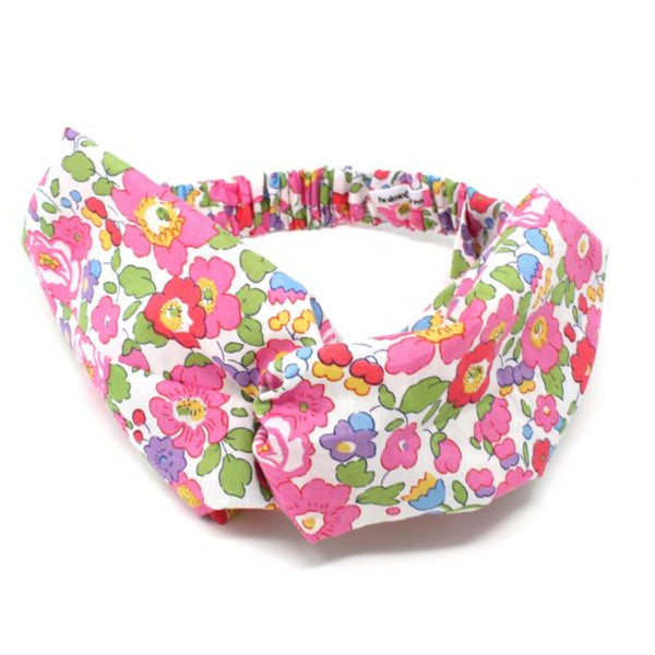 Liberty print cotton fabric elasticated twist hairband.