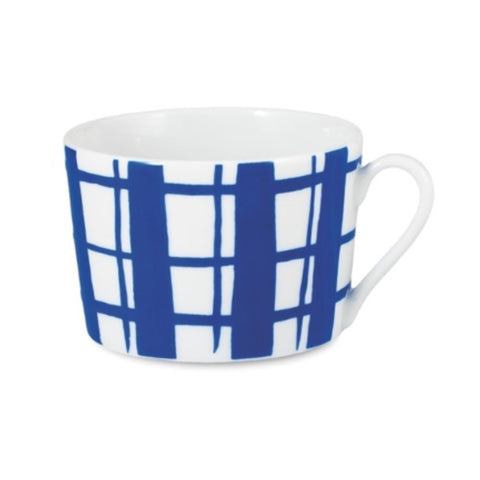 Porcelain cup with a low round shape with a cobalt blue painted check design.