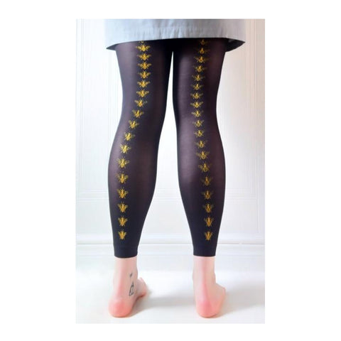 Black footless tights with hand screen printed bee design