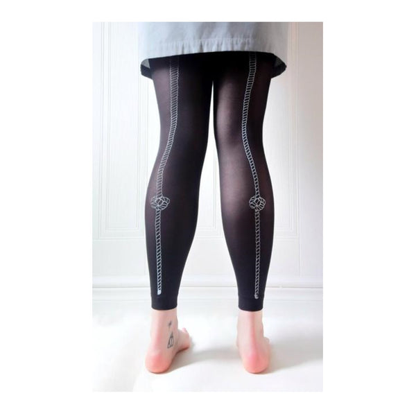 Black footless tights with hand screen printed knot rope design