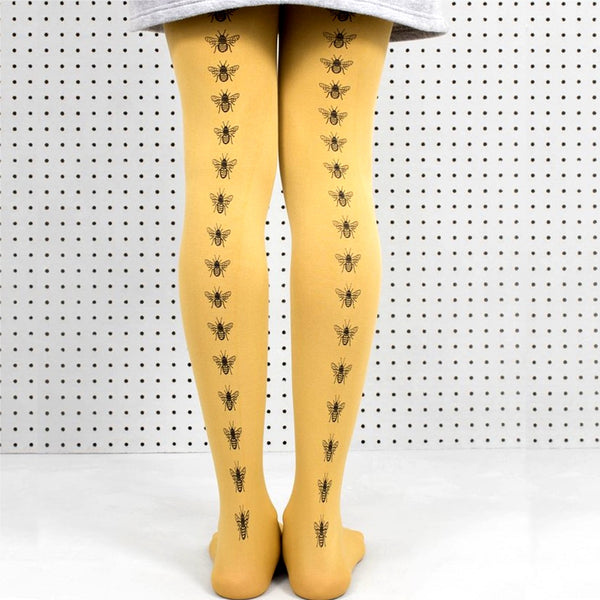 Tights Mustard Hand Screen Printed Bee Design