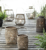 Hurricane Bamboo Rattan Lantern Set Of Two