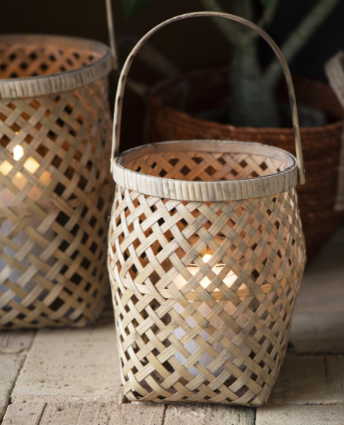 These lanterns have a lattice pattern running all the way around it and have handles for ease of carrying.