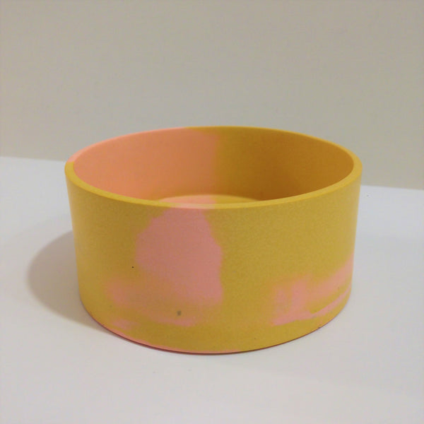 Pink and yellow marbled pot