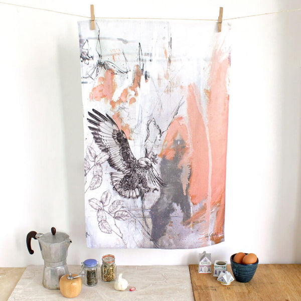 Cotton tea towel with an illustration of a jackal buzzard.