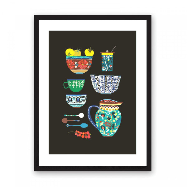 Illustration featuring a collection of cups, spoons, bowls, a jug and a jar all highly patterned. This is set onto a matt black background.