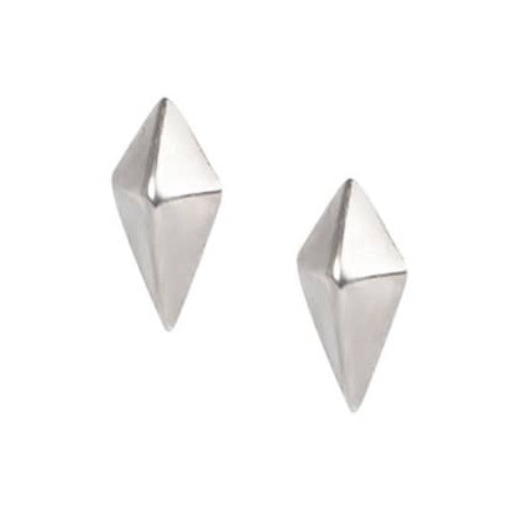 Hand created silver stud earrings in the shape of a kite.