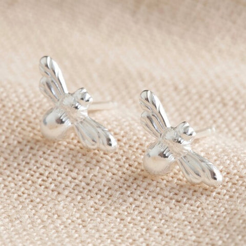Bee Stud Earrings Silver