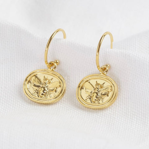 Bee Charm Hoop Earrings Gold