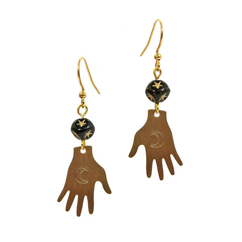 Tarot hand earrings feature delicate hand stamped crescent moons on the palms and vintage black and gold star glass cube beads.