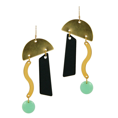 Abstract Mint Black And Gold Earrings
