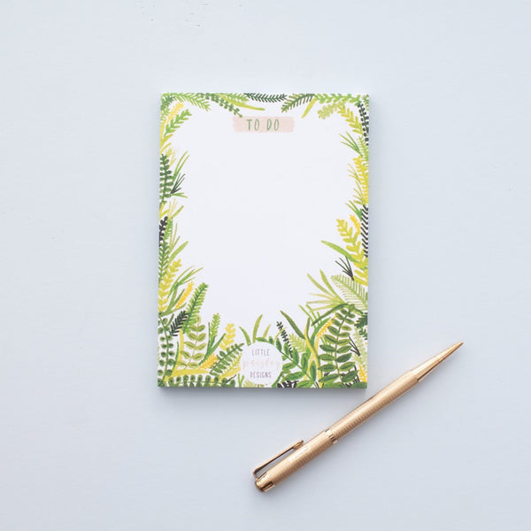 To Do Shopping List Notepad Leaf Design