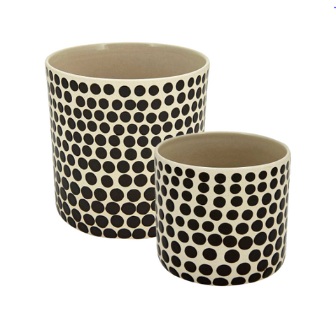 Ceramic White And Black DOT Planter Small
