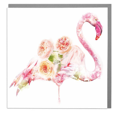 Pink Flamingo and flowers card.