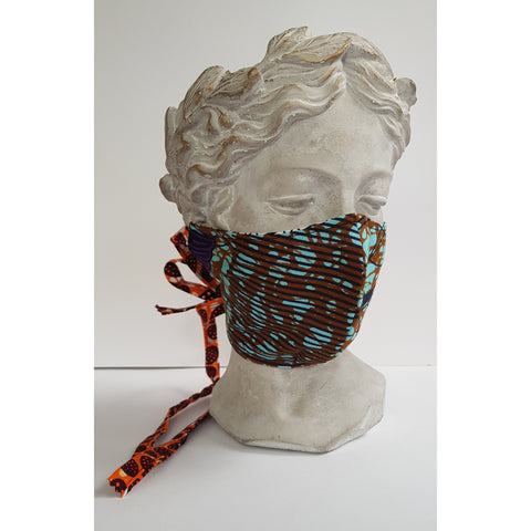 The masks fits across your nose and under your chin. The main colours are chocolate brown, turquoise, navy blue, purple and black. The pattern has straight lines and  curvy. The lining is black and white. The ties are orange, white and brown.